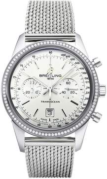 Breitling Transocean Chronograph White Dial Stainless Steel Men's Watch A4131053-G757SS
