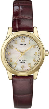 Timex Elevated Classic Womens Brown Leather Strap Watch T216939J