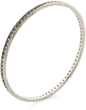 Elizabeth Showers Women's Tree of Life Silver & Green Sapphire Bangle Bracelet