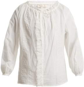 Vanessa Bruno Lace-insert cotton-blend blouse