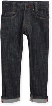 Givenchy Denim Trousers w/ Leather Trim, Size 4-5