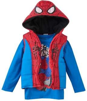 Marvel Toddler Boy Spider-Man Heavyweight Fleece-Lined Vest & Tee Set