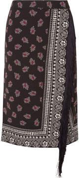 Altuzarra Jude Fringed Wrap-effect Printed Crepe Skirt - Black