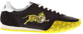 Kenzo Yellow & Black Move Sneakers In Suede & Nylon