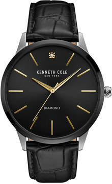 Kenneth Cole New York Men's Diamond Accent Black Leather Strap Watch 43mmx50mm 10031287