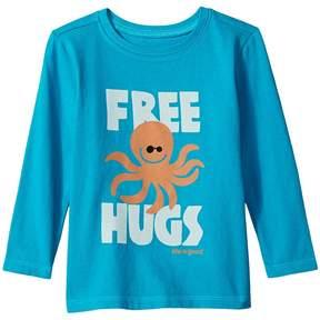 Life is Good Free Hugs Long Sleeve Crusher Tee Boy's T Shirt