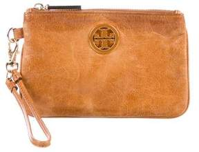 Tory Burch Grained Leather Zip Pouch - BROWN - STYLE