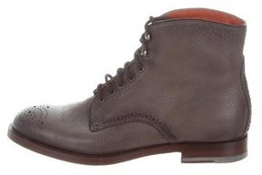 Santoni Leather Brogue Ankle Boots