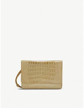 Smythson Mara crocodile-print leather cross-body purse