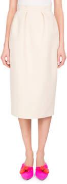 DELPOZO Pleated Cotton Pencil Skirt, White/Brown