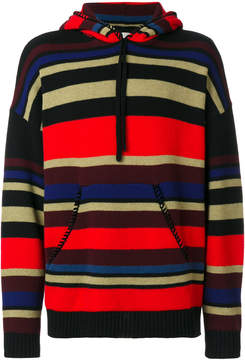 Laneus striped knitted hoodie