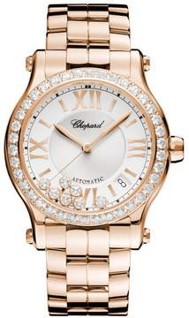 Chopard Happy Sport Silver Guilloche Dial 18 Carat Rose Gold Ladies Watch