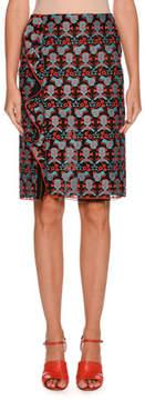 Emporio Armani Side-Ruffle Jacquard Straight Skirt
