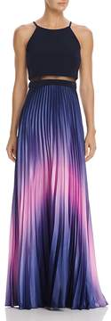 Aqua Ombré Pleated Illusion Waist Gown - 100% Exclusive