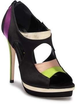 Jerome C. Rousseau Simkes Multicolor Silk High Heel Shoe