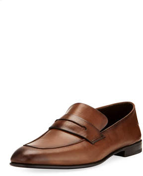 Ermenegildo Zegna Asola Napa Leather Penny Loafer, Light Brown