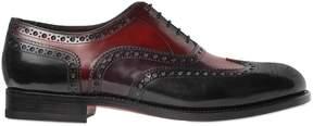 Santoni Brogue Tricolor Leather Oxford Shoes