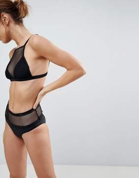 Brave Soul Mesh Insert Bikini Set With High Waisted Bottoms