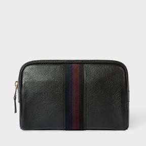 Paul Smith Men's Black Leather 'City Webbing' Wash Bag