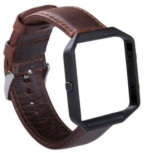 Fitbit Blaze Watch Band, Mignova Genuine Leather Replacement Wrist band strap with Stainless Steel Frame for Blaze Smart Fitness Watch (Dark Brown Band + Black Frame)