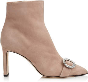 Jimmy Choo HANOVER 85 Ballet Pink Suede Booties with Crystal Buckle