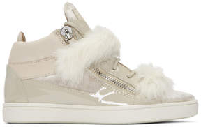 Giuseppe Zanotti Grey Patent and Velvet Brek Mid-Top Sneakers