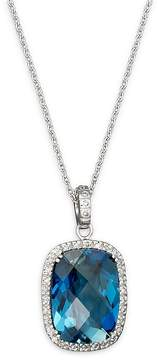 Bloomingdale's London Blue Topaz Cushion and Diamond Necklace in 14K White Gold, 16 - 100% Exclusive