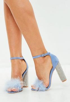 Missguided Blue Glitter&Faux Fur Block Heel Sandals