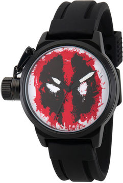 Marvel Mens Deadpool Red Dial Black Rubber Strap Watch