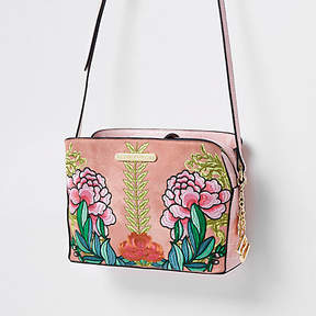 River Island Pink floral open top triple compartment bag