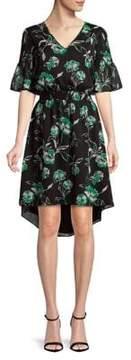 Isaac Mizrahi IMNYC V-Neck Smocked Waist Flounce Sleeve High-Low Hem Dress