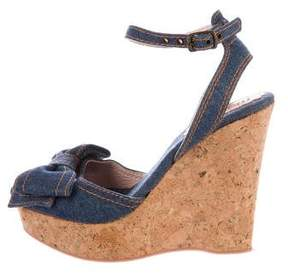 RED Valentino Denim Bow-Accented Wedges