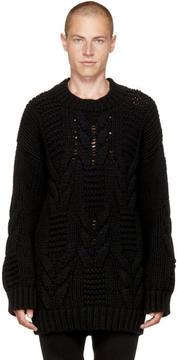 Balmain Black Oversized Cable Knit Sweater