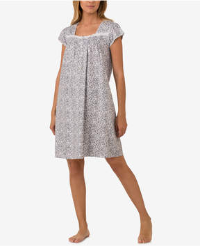 Eileen West Lace-Trimmed Cotton Knit Nightgown
