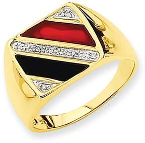 Ice 14k Men's Onyx & Red Agate Diamond Ring