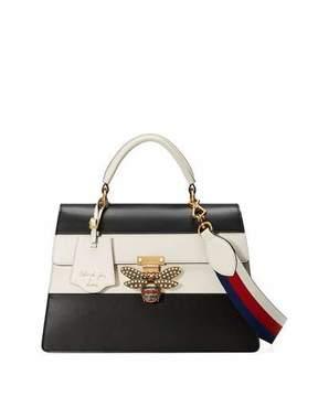 Gucci Linea Striped Bee Top Handle Bag, Black/White - BLACK/WHITE - STYLE