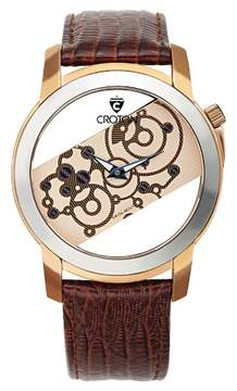 Croton Men's Stainless Steel Watch with Brown' Leather Band
