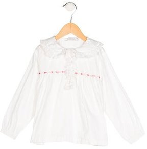 Rachel Riley Girls' Eyelet Long Sleeve Top