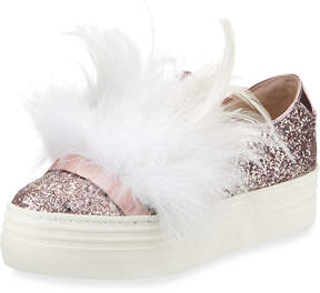 Neiman Marcus Here/Now Lesley Glitter Feather-Embellished Sneakers