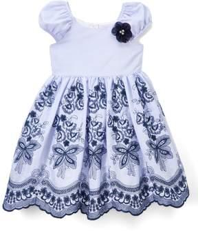Laura Ashley Blue & White Floral Gingham Dress - Infant, Toddler & Girls