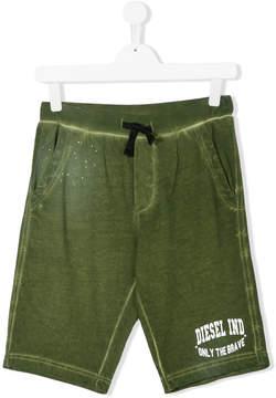 Diesel Teen faded logo print shorts