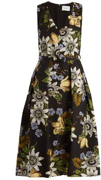 Erdem Kuni floral-print V-neck matelassé dress
