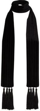River Island Womens Black velvet tassel skinny scarf