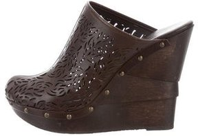 Diane von Furstenberg Laser Cut Leather Clogs