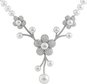 Bella Pearl Floral Sterling Silver Necklace