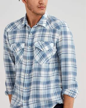 7 For All Mankind Long Sleeve Western Plaid Shirt in Pale Blue