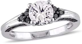 Black Diamond Amour and White Sapphire Engagement Ring - Size 9