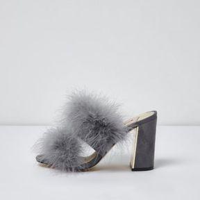 River Island Womens Grey faux fur block heel mules