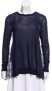 Hotel Particulier Lace-Trimmed Scoop Neck Sweater w/ Tags
