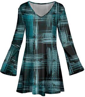 Azalea Black & Teal Brushstroke Flare-Sleeve Tunic - Plus